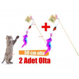 Petviya Zilli,Ponponlu ve Tüylü Kedi Oltası 50 Cm  2 adet