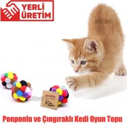 Petviya Ponponlu ve Çıngıraklı Kedi Oyun Topu 7 Cm