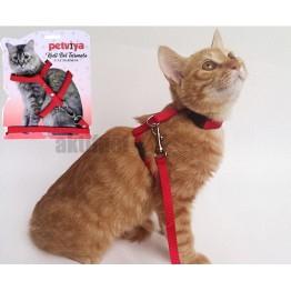 Petviya Ayarlanabilir Kedi Göğüs (Bel) Tasması KIRMIZI