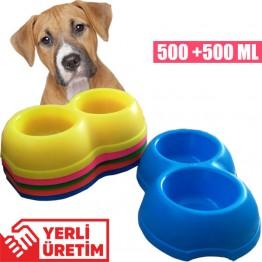 Lepus ikili Büyük Köpek Mama ve su Kabı 500 ml +500 ml(Karışık Renk)