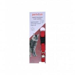 Petviya Ayarlanabilir Zilli Kedi Boyun Tasması Kırmızı