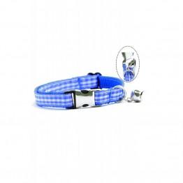 Petviya Kare Desenli Kedi Boyun Tasması Mavi